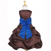 Brown/Royal Blue Satin Pick-Up Bubble Flower Girl Dress Occasions 808T