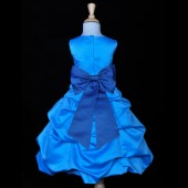 Turquoise/Royal Blue Satin-Pick-Up Bubble Flower Girl Dress Recital 808T