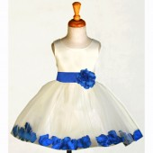 Ivory/Royal Blue Rose Petals Tulle Flower Girl Dress Pageant 305S