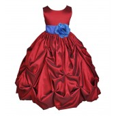 Apple / Royal Blue Satin Taffeta Pick-Up Bubble Flower Girl Dress 301S