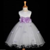 Lilac Butterflies Tulle Flower Girl Dress 3-Flower Sash 509A