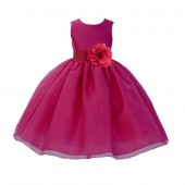 Fuchsia Satin Bodice Organza Skirt Flower Girl Dress 841T