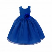 Royal blue Satin Bodice Organza Skirt Flower Girl Dress 841T