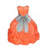 Orange/Silver Satin Taffeta Pick-Up Bubble Flower Girl Dress 301S