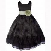 Black/Sage Satin Bodice Organza Skirt Flower Girl Dress 841T