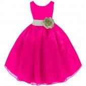 Fuchsia/Sage Satin Bodice Organza Skirt Flower Girl Dress 841T