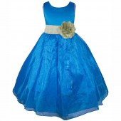 Royal Blue/Sage Satin Bodice Organza Skirt Flower Girl Dress 841T