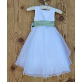 White/Sage Satin Bodice Shimmering Organza Flower Girl Dress J012