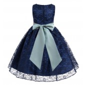 Navy / Sage Floral Lace Overlay Flower Girl Dress Lace Dresses 163s