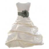 Ivory/Sage Satin Pick-Up Bubble Flower Girl Dress Bridesmaid 808T