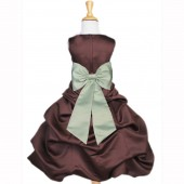 Brown/Sage Satin Pick-Up Bubble Flower Girl Dress Occasions 808T