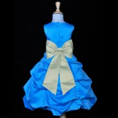 Turquoise/Sage Satin-Pick-Up Bubble Flower Girl Dress Recital 808T
