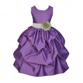 Purple/Sage Satin Pick-Up Flower Girl Dress Princess 208T