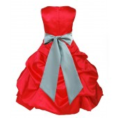 Red/Sage Satin Pick-Up Bubble Flower Girl Dress Christmas 806S