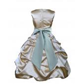 Gold/Sage Satin Pick-Up Bubble Flower Girl Dress Dazzling 806S
