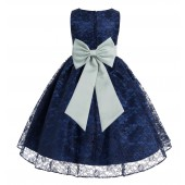 Navy Blue / Sage Floral Lace Overlay Flower Girl Dress Elegant Beauty 163T