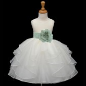 Ivory/Sage Satin Shimmering Organza Flower Girl Dress Wedding 4613S
