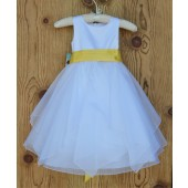 White/Sunbeam Satin Bodice Shimmering Organza Flower Girl Dress J012