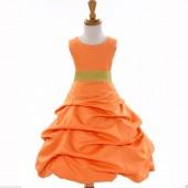 Orange/Sunbeam Satin Pick-Up Bubble Flower Girl Dress Halloween 808T