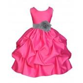 Fuchsia/Silver Satin Pick-Up Flower Girl Dress Recital 208T