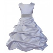 Matching Silver Satin Pick-Up Bubble Flower Girl Dress 806S