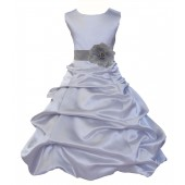 Silver Matching Satin Pick-Up Bubble Flower Girl Dress 808T