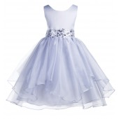 Silver Asymmetric Ruffled Organza Sequin Flower Girl Dress 012S