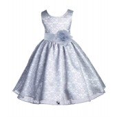 Silver Floral Lace Overlay Flower Girl Dress Formal Beauty 163S