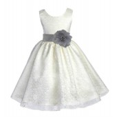 Ivory/Silver Floral Lace Overlay Flower Girl Dress Special Event 163S
