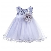 Silver Glitter Sequin Tulle Flower Girl Dress Formal Princess B-011NF