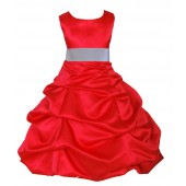 Red/Silver Satin Pick-Up Bubble Flower Girl Dress Christmas 806S