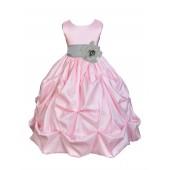 Pink/Silver Satin Taffeta Pick-Up Bubble Flower Girl Dress 301S
