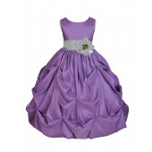 Purple/Silver Satin Taffeta Pick-Up Bubble Flower Girl Dress 301S