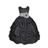 Black/Silver Satin Taffeta Pick-Up Bubble Flower Girl Dress 301S