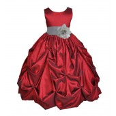 Apple / Silver Satin Taffeta Pick-Up Bubble Flower Girl Dress 301S
