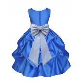 Royal Blue/Silver Satin Pick-Up Flower Girl Dress Dance 208T