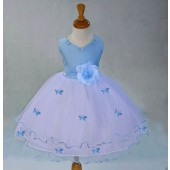 Sky Blue Satin Tulle Butterflies Flower Girl Dress Occasions 801S