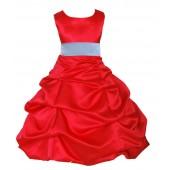 Red/Sky Blue Satin Pick-Up Bubble Flower Girl Dress Christmas 806S
