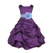 Purple/Sky Blue Satin Pick-Up Bubble Flower Girl Dress Easter 808T