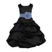 Black/Sky Blue Satin Pick-Up Bubble Flower Girl Dress Formal 808T