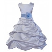 Silver/Sky Blue Satin Pick-Up Bubble Flower Girl Dress Stylish 808T