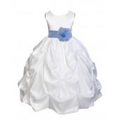 White/Sky Satin Taffeta Pick-Up Bubble Flower Girl Dress 301T