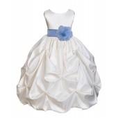 Ivory/Sky Satin Taffeta Pick-Up Bubble Flower Girl Dress 301T