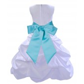 White/Spa Satin Pick-Up Bubble Flower Girl Dress Wedding 806S