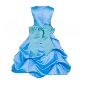 Turquoise/Spa Satin Pick-Up Bubble Flower Girl Dress Recital 806S