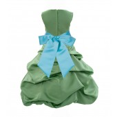 Clover Green/Spa Satin Pick-Up Bubble Flower Girl Dress 806S
