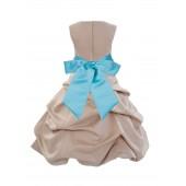 Champagne/Spa Satin Pick-Up Bubble Flower Girl Dress Princess 806S