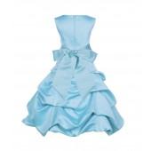 Spa Blue/Spa Satin Pick-Up Bubble Flower Girl Dress 806S