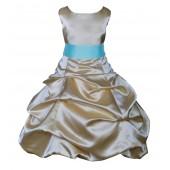 Gold/Spa Satin Pick-Up Bubble Flower Girl Dress Dazzling 806S