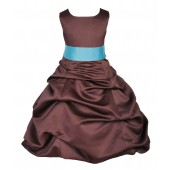 Brown/Spa Satin Pick-Up Bubble Flower Girl Dress Occasions 806S
